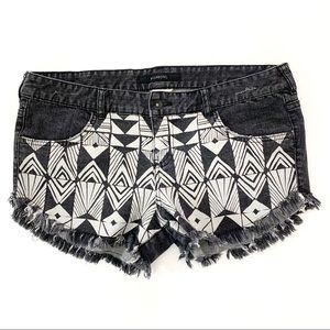 Billabong Laneway Jean Shorts Black White Size 31